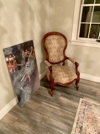 The dance print and her great-great granmother's chair will also live here.