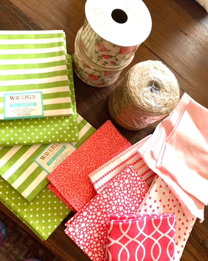 Spring Fabric squares and ribbon