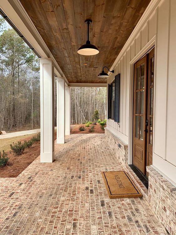 wood and brick porch
